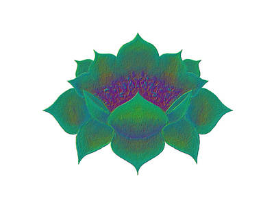 Poster featuring the digital art Green Lotus by Elizabeth Lock