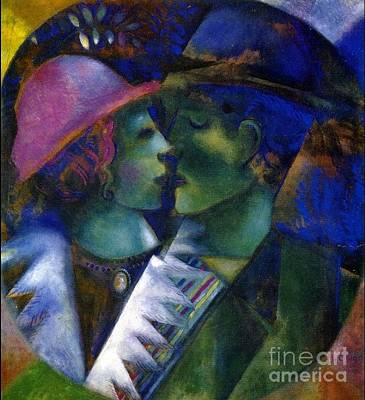 Green Lovers Poster by Marc Chagall