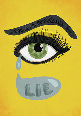 Green Lying Eye With Tears Poster