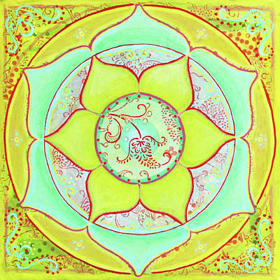 Green Lotus Mandala Poster