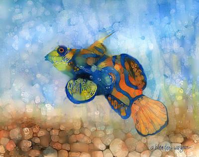 Green Mandarin Fish Poster by Arline Wagner