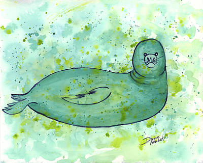 Poster featuring the painting Green Monk Seal by Darice Machel McGuire
