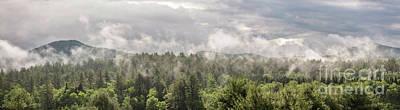 Green Mountains Fog Panoramic Poster