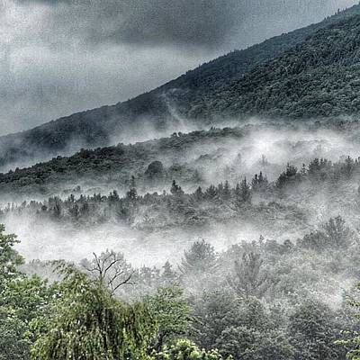 Poster featuring the photograph Green Mountains With Fog by Penni D'Aulerio