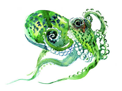 Green Octopus Poster by Suren Nersisyan