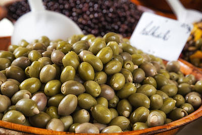 Green Olives At A French Market Poster