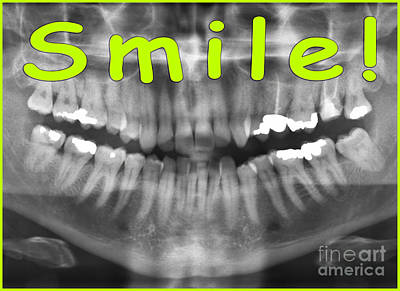 Green Panoramic Dental X-ray With A Smile  Poster by Ilan Rosen