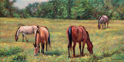 Green Pastures - Horses Grazing In A Field Poster by Bonnie Mason