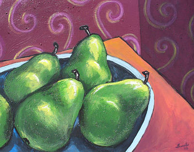 Green Pears In A Bowl Poster