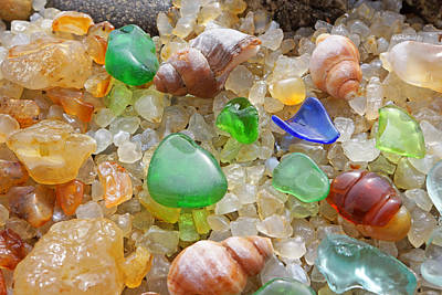 Green Seaglass Art Prints Sea Glass Shells Agates Poster by Baslee Troutman Fine Art Prints