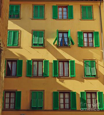 Green Shutters Of Florence Poster by Patricia Strand