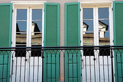 Poster featuring the photograph Green Shutters Reflections by KG Thienemann