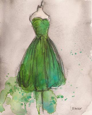 Green Strapless Dress Poster