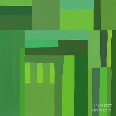 Poster featuring the digital art Green Stripes 3 by Elena Nosyreva