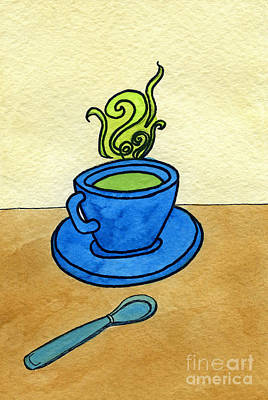 Green Tea Poster by Norma Appleton