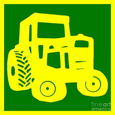 Green Tractor T-shirt Poster by Edward Fielding