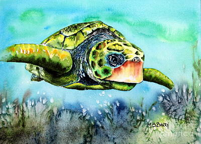 Poster featuring the painting Green Turtle by Maria Barry