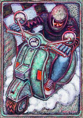 Green Vespa Poster by Mark Howard Jones