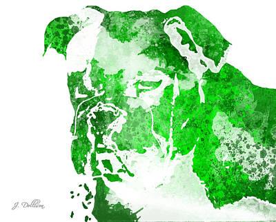 Green Watercolor Bulldog Poster