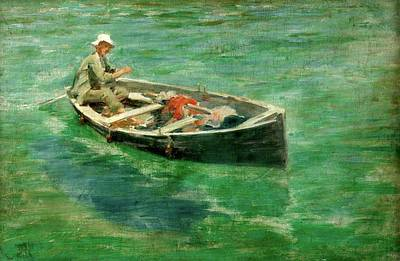 Poster featuring the painting Green Waters by Henry Scott Tuke