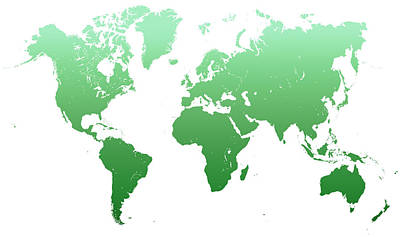 Green World Map Poster by Jenny Rainbow