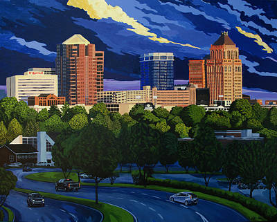 Greensboro Skyline In The Sunshine Poster