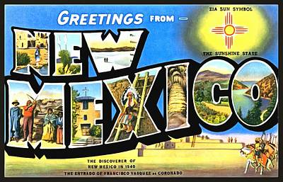 Greetings From New Nexico Poster by Vintage Collections Cites and States