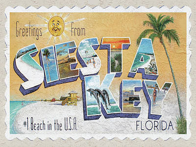 Greetings From Siesta Key Poster by Shawn McLoughlin