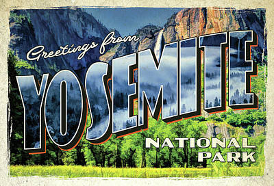 Poster featuring the painting Greetings From Yosemite National Park by Christopher Arndt