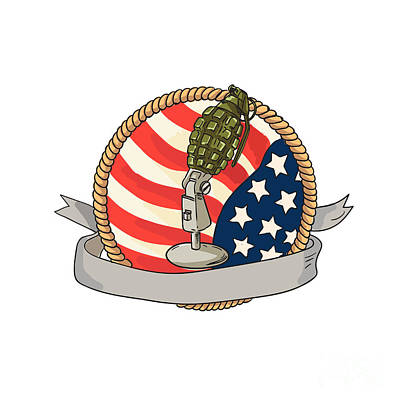 Grenade Microphone Usa Flag Circle Retro Poster by Aloysius Patrimonio