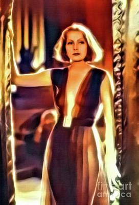 Greta Garbo, Vintage Actress. Digital Art By Mb Poster by Mary Bassett