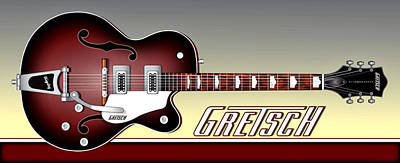 Gretsch Guitar Poster by Anthony Citro