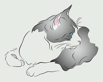 Grey And White Cat In Profile Graphic Poster
