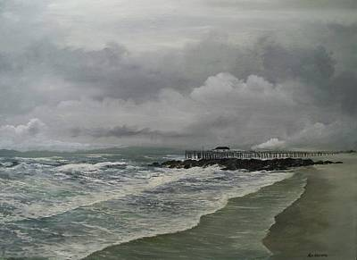 Poster featuring the painting Grey Day At Ocean Grove by Ken Ahlering