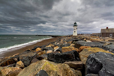Grey Day At Scituate Lighthouse Poster
