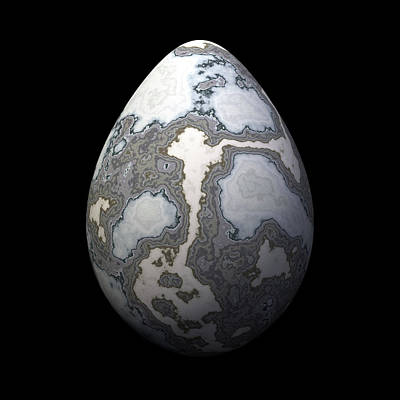 Grey Marble Egg Poster by Hakon Soreide