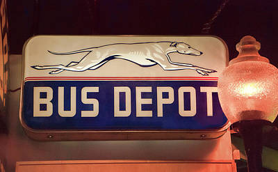Greyhound Bus Depot Poster by Phyllis Taylor