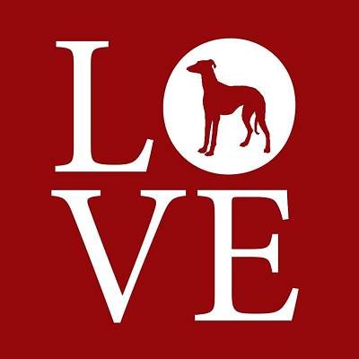 Greyhound Love Red Poster by Nancy Ingersoll