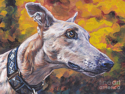 Greyhound Portrait Poster by Lee Ann Shepard