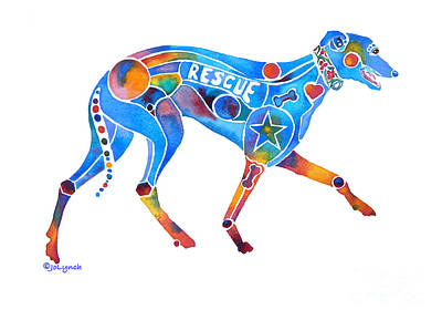 Greyhound Rescue Gffl Poster by Jo Lynch