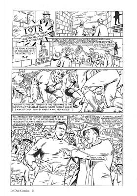Gridiron One Page One Black And White Poster by Greg Le Duc Ron Randall