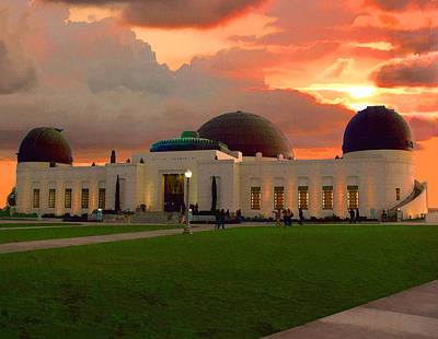 Poster featuring the digital art Griffith Park Observatory by Timothy Bulone