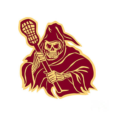 Grim Reaper Lacrosse Defense Pole Retro Poster by Aloysius Patrimonio