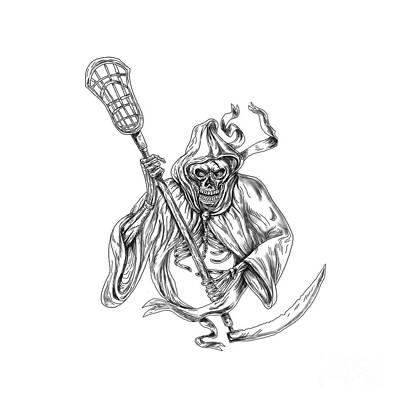 Grim Reaper Lacrosse Defense Pole Tattoo Poster by Aloysius Patrimonio