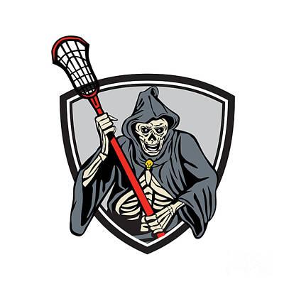 Grim Reaper Lacrosse Player Crosse Stick Retro Poster by Aloysius Patrimonio