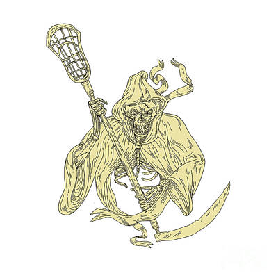 Grim Reaper Lacrosse Stick Drawing Poster by Aloysius Patrimonio
