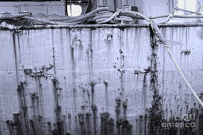 Poster featuring the photograph Grimy Old Ship Hull by Yali Shi