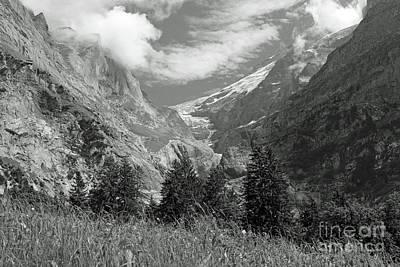 Grindelwald Glacier In Switzerland In Black And White Poster