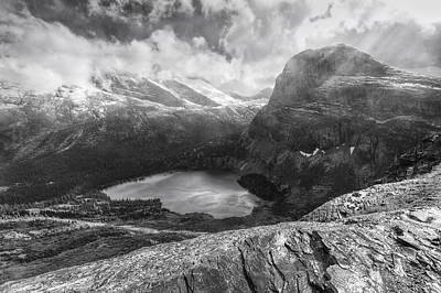 Grinnell Lake Overlook Black And White Poster by Mark Kiver