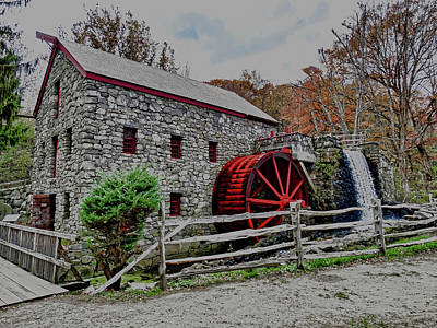 Grist Mill In Fall Poster by Bill Dussault